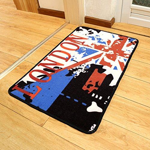 Edge to Tappeto/Coperte Materasso Porta Moderna Bar Parola Bandiera English Wind Door Entrata Cucina Bagno Mattoni Antiscivolo (Colore : 80 * 120cm)