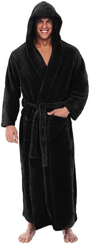 Men's Soft Fleece Plush Robes Full Length Big and Tall Bathrobe Winter Warm Flannel Fleece Robe with Hood