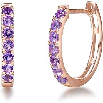 Channel-Set Ruby and Diamond Hinged Hoop Earrings 2mm Ruby