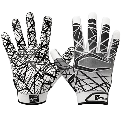 Cutters Game Day No Slip Football Gloves, Youth and Adult Sizes, Receiver Gloves with High Tack Silicone Grip, Superior Support and Protection for All Ages, Guantes de Football, 1 Pair