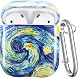 Maxjoy AirPod Case Cover, Cute AirPod Case Hard Protective Cover with Keychain/Strap/Earhooks/Watch Band Holder Compatible with Apple AirPods Charging Case 2&1 for Girls Women Men, Starry Night