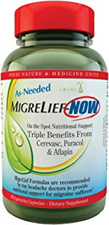 MigreLief-Now - Fast Acting Formula, As Needed Nutritional Support for Migraine and Headache Sufferers - 60 Vegetarian Cap...