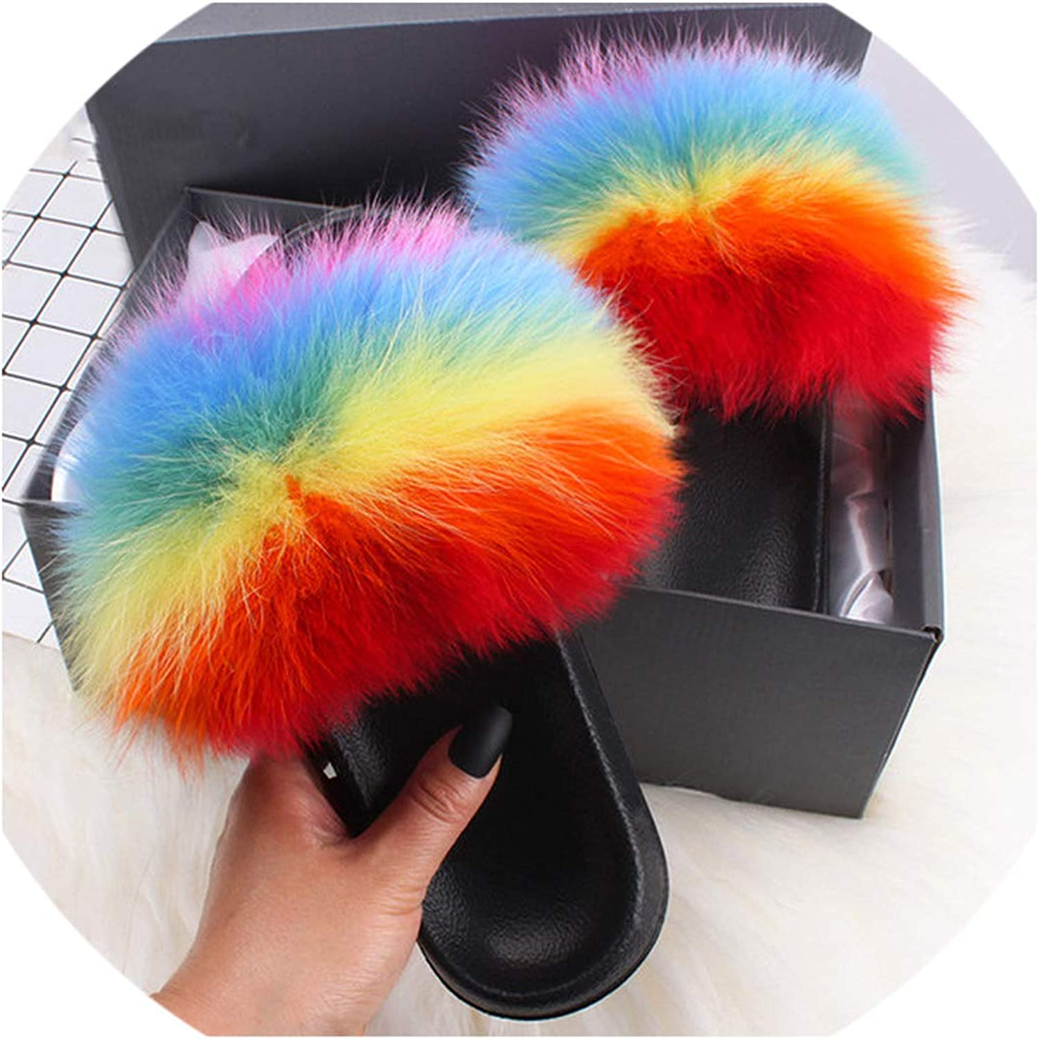 April With You Fox Raccoon Fur Slippers Slides Beauty Summer Slippers Fluffy Fur Sandals