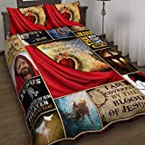 GEEMBI Quilt Bedding Set-Don't Be Afraid Just Have Faith Jesus Christ Quilt Bed Set DDH2118QS, Twin Size Coverlet for All Season-Soft Microfiber Bedspread+Pillows-Quilts Gifts (King,Queen,Twin)