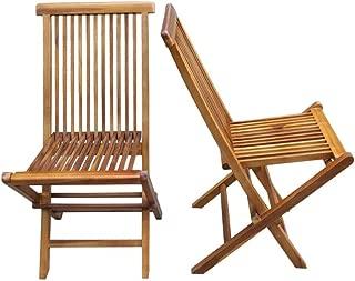 ALATEAK 2 Piece Wood Indoor Outdoor Patio Garden Yard Folding Seat Chair Set