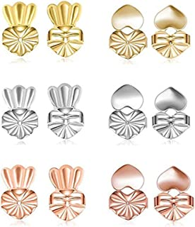 6 Pairs Magic Earring Lifters, Adjustable Hypoallergenic Earring Lifts, Safety Secure Backings, Easy to Use, Perfect for Droopy Ears - Crown & Heart Style (Gold Plated, Sterling Silver, Rose Gold)