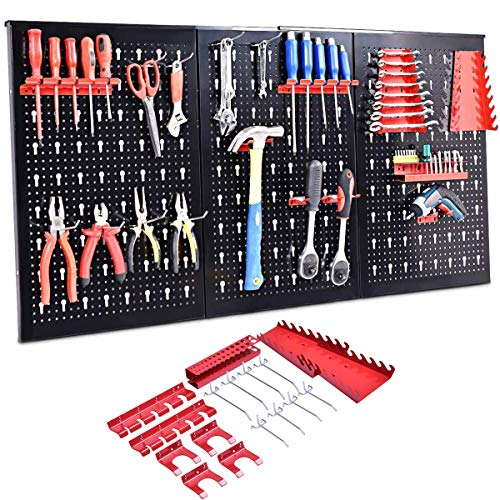 RELAX4LIFE Werkzeugwand Lochwand Werkzeuglochwand Lochplatten Werkstattwand, 3 Lochbleche mit 14 tlg. Hakenset, für Werkstatt, aus Metall, Schwarz, 120 x 60 x 2 CM