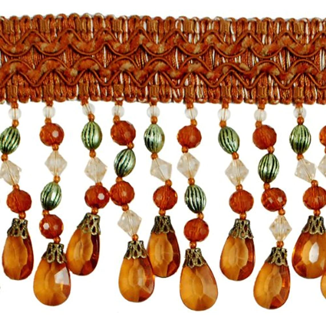 Expo International Sonay Scalloped Beaded Fringe Trim, 10 yd, Brown/Multicolor