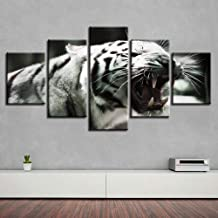 Fbhfbh Canvas Painting Home Decor Framework 5 Pieces Roaring White Tiger Poster HD Printed Animal Pictures Modular Kids Room Wall Art-8 x 14/18/22inch,with Frame