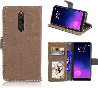 För Meizu M6T/Meiblue 6T/Meilan 6T fodral, matt PU-läder skydd 3 kortplatser plånbok flip fodral fodral beige