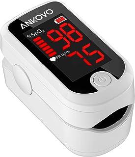 Pulsoximeter, Fingeroximeter für Erwachsene und Kinder mit LED Anzeige, Blutsauerstoffsättigungsmessgerät für die Fingerspitze, Sauerstoffmessgerät für Erwachsene mit Umhängeband und Batterien