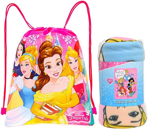 Disney Northwest Princess Fleece Throw Blanket Sling Tote Bag 2 Pc Set