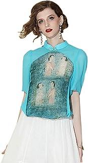 قميص HangErFeng طوق فستان مطبوع عليه عنصر صيني