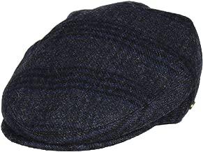 Folie Co. Charcoal Grey 100% Wool Plaid Tartan Winter Irish Ivy Cabbie Hat - Flat Cap