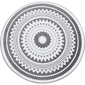 Gr/ö/ße:60x60 cm Alfombra Redonda Pelo Corto para Ba/ño con Motivo Estrellas Negro TT Home Alfombrilla De Ba/ño