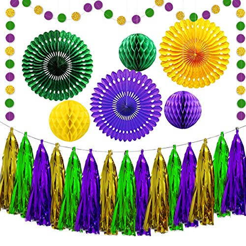 Mardi Gras Banner Garland Decorations Gold Purple Green Party Decoration Kit Includes Honeycomb Balls Hanging Paper Fans for Mardi Gras Theme Celebration