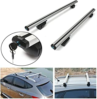 Ai CAR FUN Universal Roof Rack Cross Bar Top Roof Rail Luggage Cargo Rack Rails Carrier Rack Frame with Anti-Theft Lock for Car SUV Pickup Truck