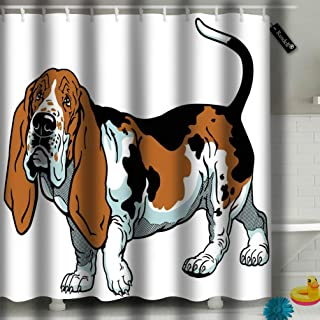 txregxy Bathroom Curtains Shower Curtain Dog Basset Hound Breed White Bathroom Decor Set with Hooks 72 by 10599 Inches 60