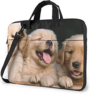 Bolso de Hombro para portátil de 14 Pulgadas Golden Retriever Perros Cachorros Mascotas Impreso A Prueba de Golpes Impermeable Mochila de Hombro para portátil Maletín