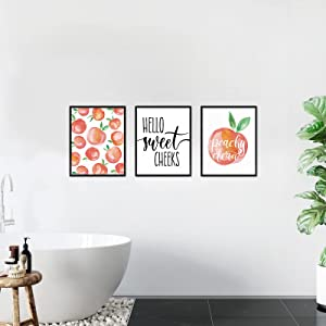 Pink Peach Wall Decor for bathroom 3 Pieces Hello Sweet Cheeks Wall Art Canvas Pictures Modren Farmhouse Paintings for bathroom and home wall signs
