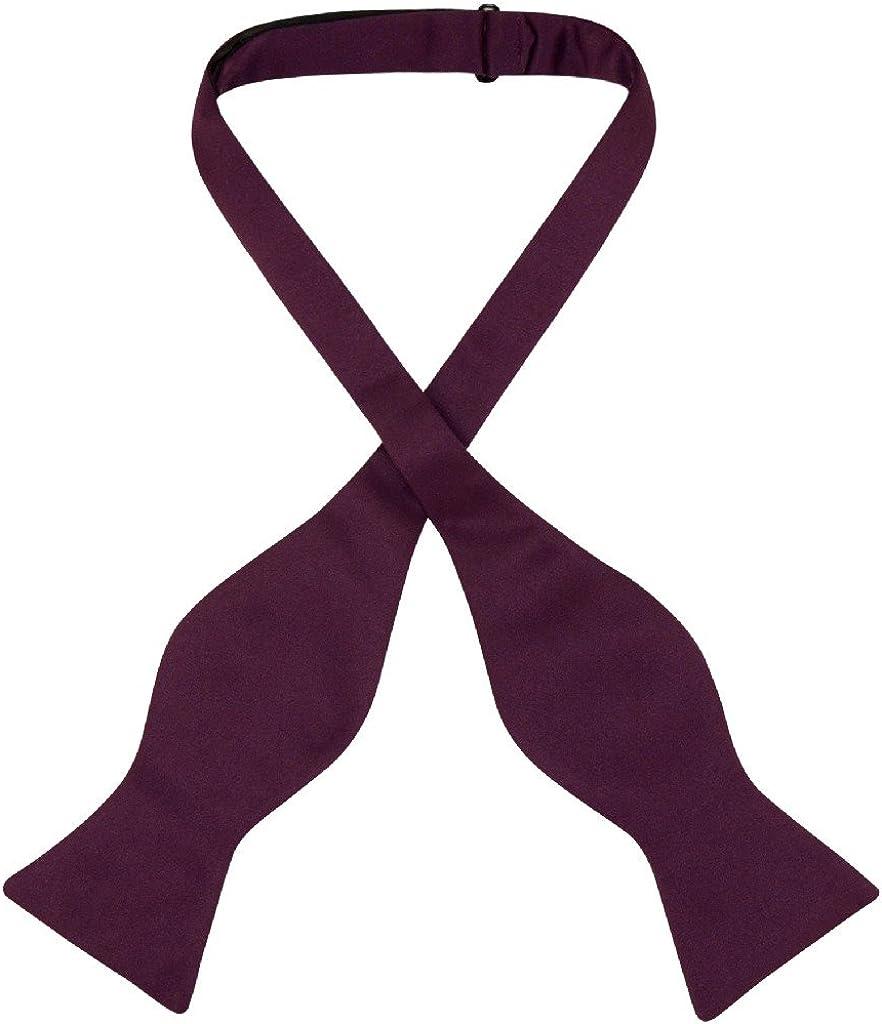 Vesuvio Napoli SELF TIE Bow Tie Solid EGGPLANT PURPLE Color Men's BowTie