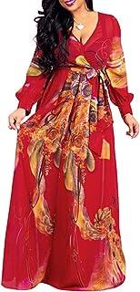 CORAFRITZ - Abito da donna con scollo a V profondo in chiffon e stampa floreale, a vita alta, a maniche lunghe