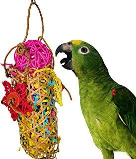 POPETPOP Bird Toy Shredder, 2Pack Parrot Shredding Toys Bamboo Shredder Foraging Shredding Hanging Toy Gravel Paper for Bird Cage African Greys Parakeet Cockatiels Chewing Toys
