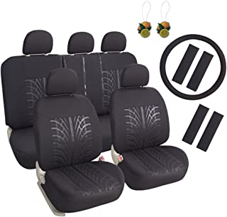 Leader Accessories 17pcs Black Auto Car Seat Cover Full Set - Airbag Compatible - Front Low Back Buckets Seat Protector - 50/50 or 60/40 Rear Split Bench