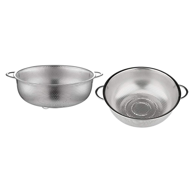 侵入走る空Fenteer ハンドル付き2個のステンレス鋼ふるい米ふるい麺水切りバスケット