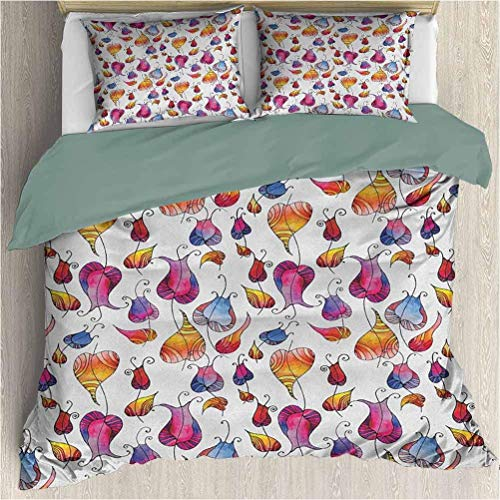 Colorful Three Piece Duvet Cover Sets Colorful Watercolor Tulips with Doodle Drawing Style Blossoming Spring Flowers 3Pcs Duvet Cover Set with Zipper Closure Multicolor California King Size