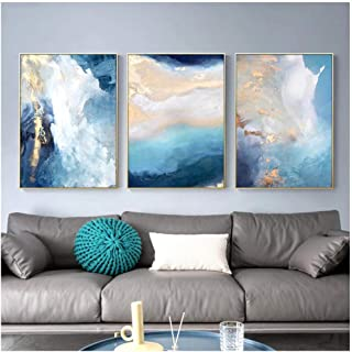 Kkglo 3Pcs Living Room Bedroom Modern Home Decor Paintings Abstract Gold Foil Blue River Canvas Art For Posters 50X70Cm No...