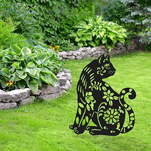 Gartendeko Gartenfigur,Garten Acryl Tier Silhouette,Art Animal Gartenstecker,Gartenfigur Acryl Tier Deko Handarbeit Gartendeko,Outdoor Ornament,Garten Hinterhof Dekor Geschenk (Schwarze Katze)