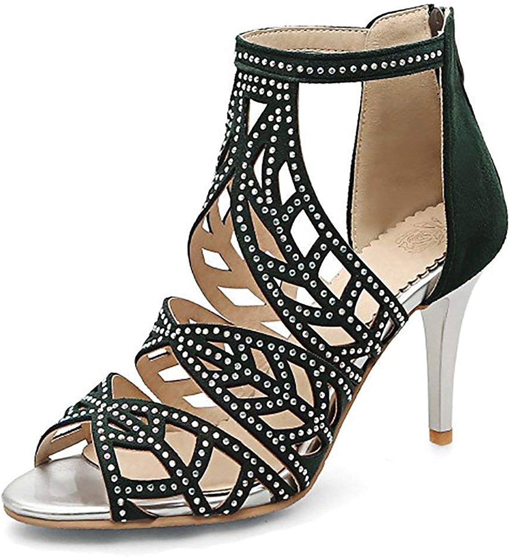 Women's Gladiator Sandals with Rhinestone - Unique Club High Heel - Ankle Wrap Zip Up Stilettos