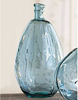 Vivaterra Recycled Glass Balloon Vase - Tall - 19 H x 10 Diameter - Smoky Blue