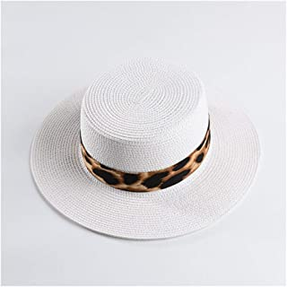 Lei Zhang Summer Flat top hat Female Leopard Print Wide hat top hat Straw hat Leisure Vacation Beach hat (Color : Milk White)