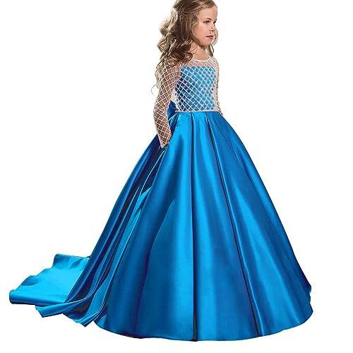 d01cc5535b5 Christmas Flower Girl Dress Floor Length Button Draped Tulle Ball Gowns for  Kids