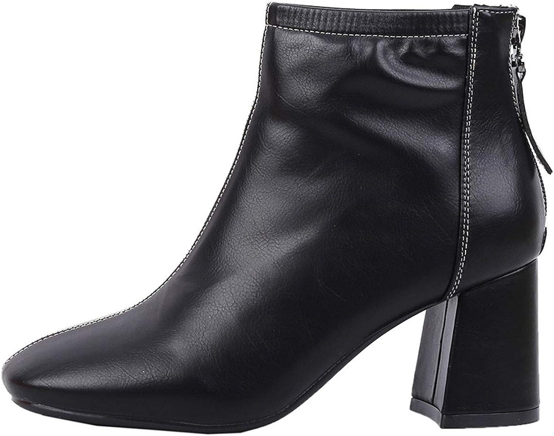 GTVERNH Women's shoes Rough Heels Square Head Short Boots Martin Boots 7Cm Back Zipper High Heels Cotton Boots and Bare Boots Women's shoes Fashion