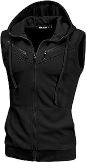 uxcell Men's Sleeveless Slim Fit Hoodie Vest Zipper Drawstring Gilet Jacket with Pockets