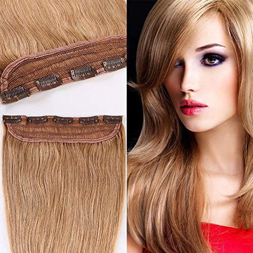 Extension a Clip Cheveux Naturel Monobande - Rajout Cheveux Humain Lisse Une Pièce (#27 BLOND FONCE, 25CM-40g)