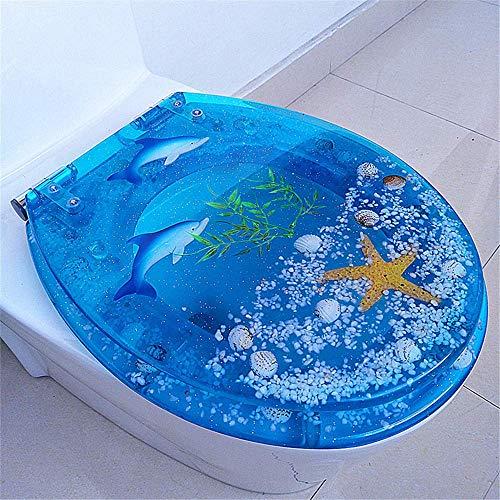 XBSXP Mjukstängande toalettsitsar, universellt harts toalettlock, gångjärn för snabb utlösning kraftig liggplats, långsamt självstängande funktion, enkla montering – blå delfin