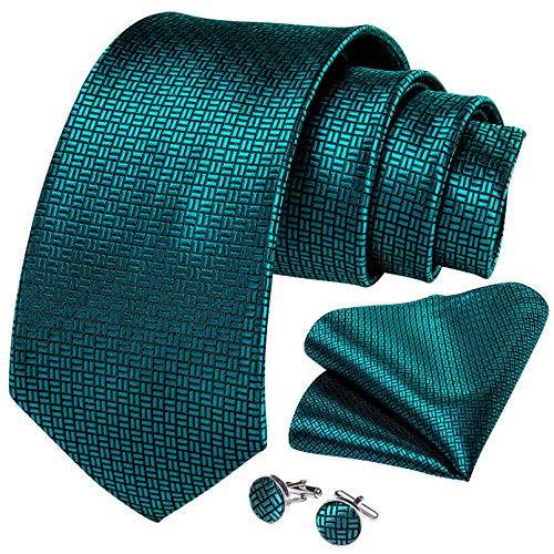 GPZFLGYN Corbata para hombre, corbata de boda de seda sólida verde azulado para hombre, corbata, anillo, pañuelo, gemelos, conjunto de corbata, fiesta de negocios