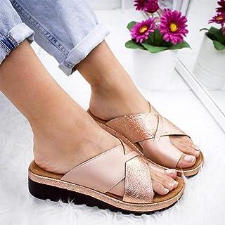 Women Artificial PU Slippers Orthopedic Bunion Corrector Comfy Platform Wedge Ladies Casual Big Toe Correction Sandal Shoes