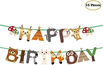 15pcs Woodland Animals Happy Birthday Banner Decoration for Woodland Garland Forest Theme Birthday Festival Party