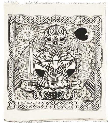 Wand Tuch Wandbehang Decke Größe 1400x2200mm Batik Decke Pentagram Lucifer, Sonne Mond und Sterne
