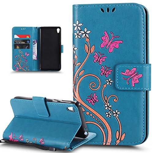 Coque Sony Xperia E5,Etui Sony Xperia E5,ikasus Peint coloré Embosser Papillon fleur Housse en Cuir PU Etui Housse Portefeuille de Protection Flip Case Portefeuille Etui Coque pour Sony Xperia E5,Bleu
