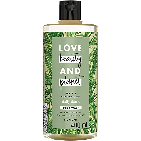 Love Beauty & Planet Natural Tea Tree Oil & Vetiver Purifying Body Wash, Plant-based Cleanser For Men & Women, Paraben Free, Sulphate Free, 400 ml