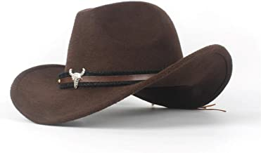 2019 Women Fashion Ladies Wool Felt Western Cowboy Hat, Jazz for Cowgirl with Bull Head Leather (Color : Brown, Size : 56-59cm)