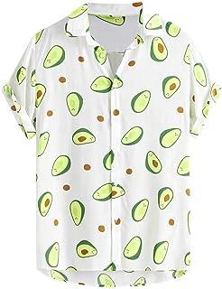 Camisa Estampado Aguacate Hombre, Dragon868 Vintage Camisa Hawaiana, Camisa de Manga Corta Impresión de Hawaii para Playa ...
