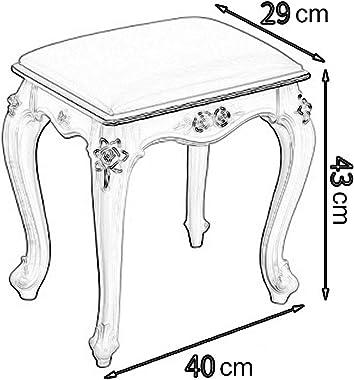 ZHIQ Tabouret de Coiffeuse, Siège de Maquillage Chaise de Piano Baroque Blanc Vintage Tabouret Rembourré Vanité Tabouret de M