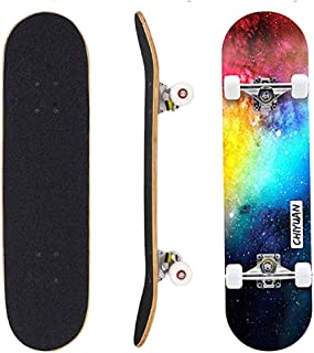 Dazzle Cool Skateboard Standard Complete Four-Wheeled Skateboards 31x 8 Inch for Adult Beginner Teens